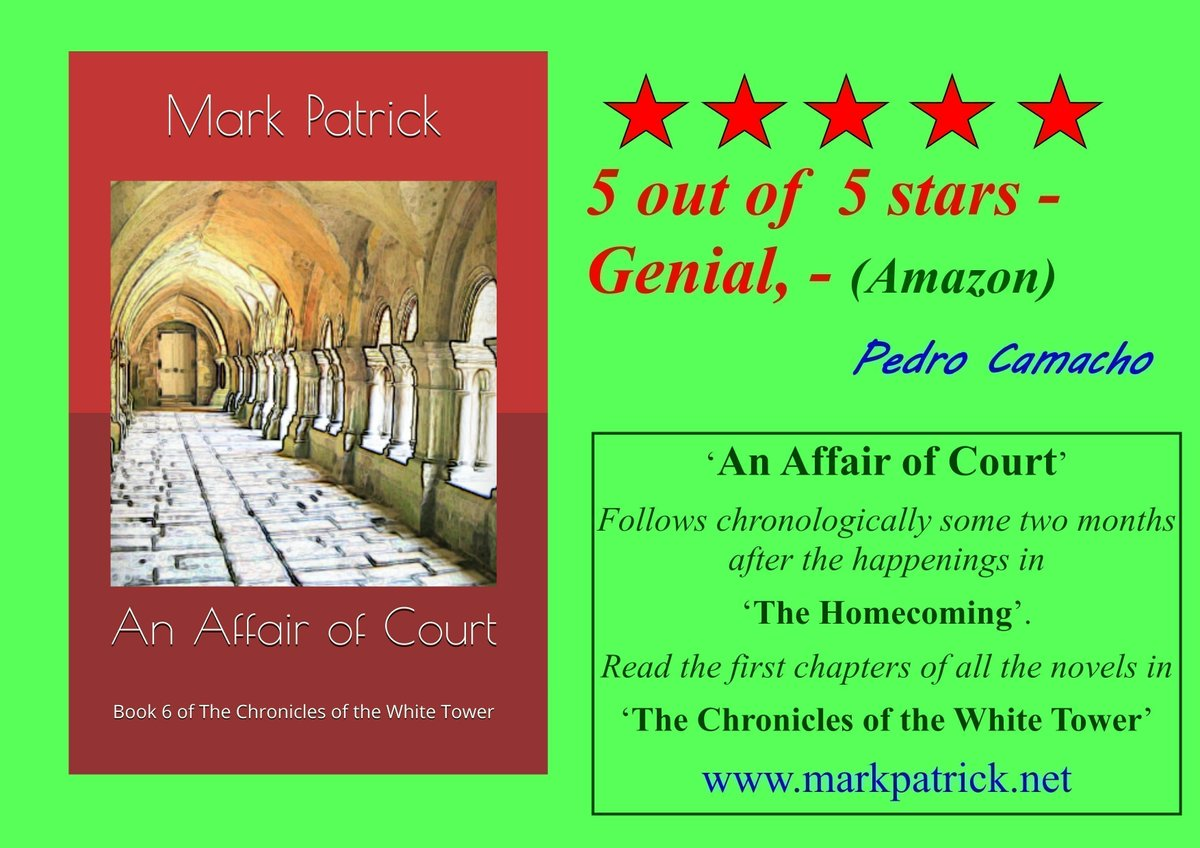 5 out of  5 stars - Genial, - (Amazon) - Pedro Camacho  An Affair of Court  Read the first few chapters FREE at -   Buy (universal Amazon link) -   Paperback or Kindle (KU) #booklovers #fantasy #medieval #BookShelf #Novel