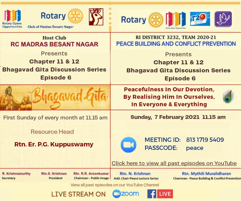 #peacebuilding #conflictprevention discussion #RCMB #Rotary #Club of #Madras #Besantnagar #RID3232 @PeaceCorps @rotary_india @Chennai_Rotary @RotaryPeaceForU @NewsRotary @Rotary #Bhagavadgita - #Peacefulness in our #Devotion @PeaceCorps