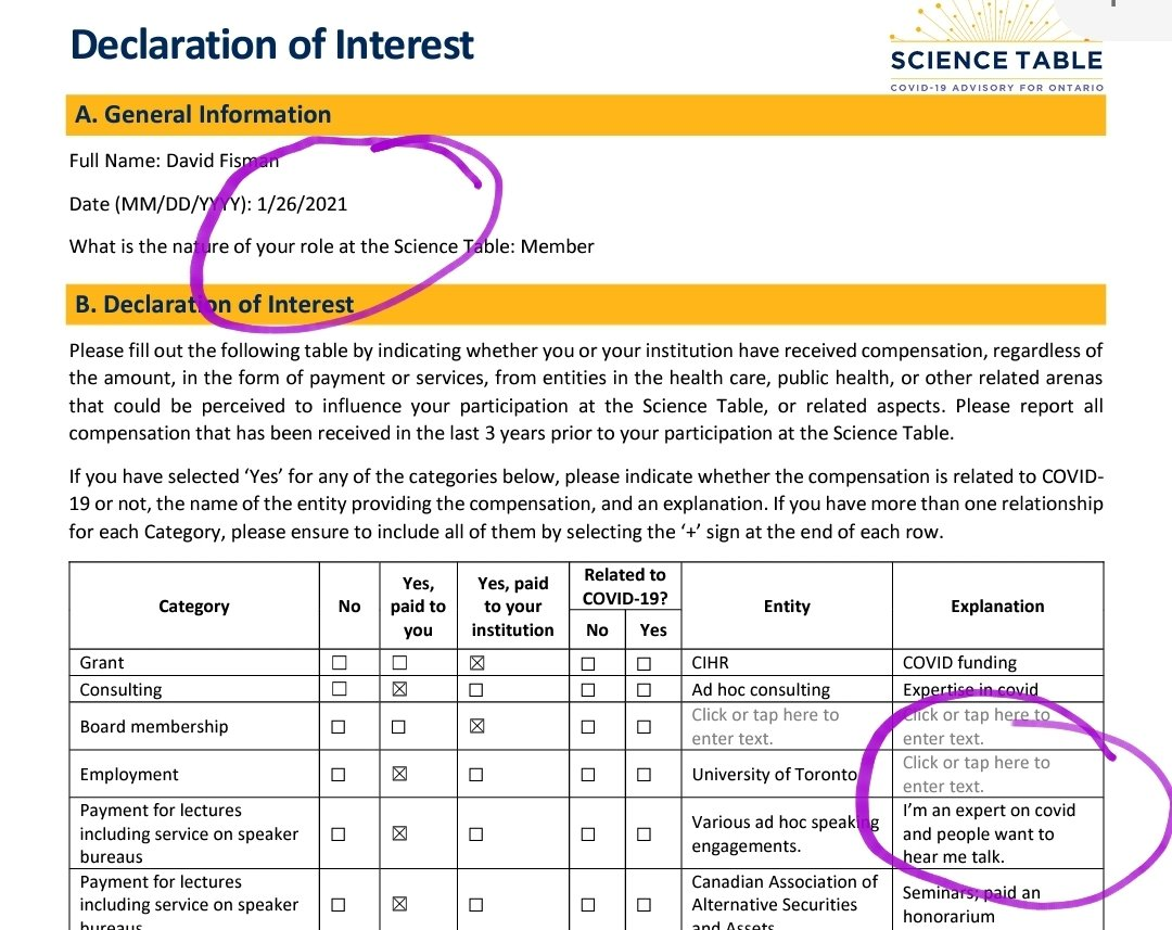 So Ontario Science Table member Dr. @DFisman changed his conflict of interest disclosure literally *today* in response to @TheTorontoSun story about getting paid by a teachers' union. For 5 months he said nothing publicly about this conflict *while he supported school closures*. https://t.co/WecnW7YZN5