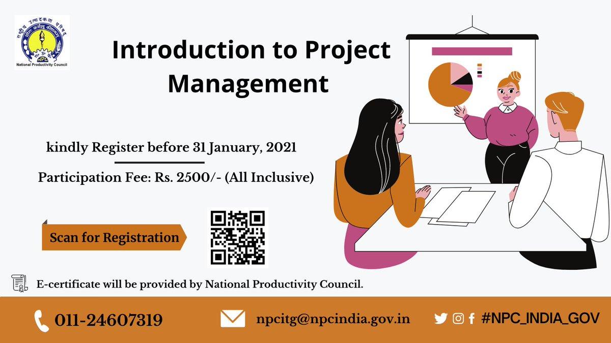 """#NPC Join E-#learning on """"Introduction to Project Management"""" Registration Link :-  @AIUIndia @ugc_india @iitcouncil @HRDMinistry @AICTE_INDIA @ncert @ncteDelhi @IIHMRUniversity @pankajugc @IITKanpur @IAU_AIU @cbseindia29 @iitmadras  @IITKgp @iitbombay"""