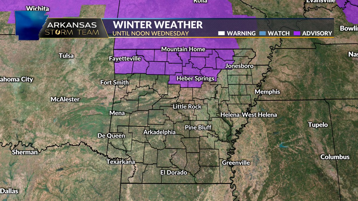 "WINTER WEATHER ADVISORY expanded to include northwest and the remainder of north central #Arkansas and extended to Noon Wednesday. #Snow totals of around an inch possible with local amounts up to 2"". #arwx"