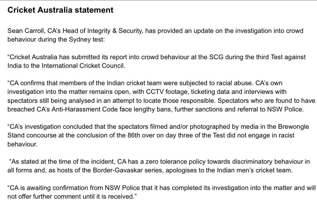 Cricket Australia has confirmed that the Indian players were subjected to racial abuse during the third test of #AUSvsIND.