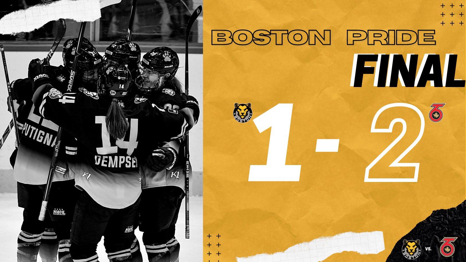 Final score: Toronto Six defeat the Boston Pride 2-1 in regulation.