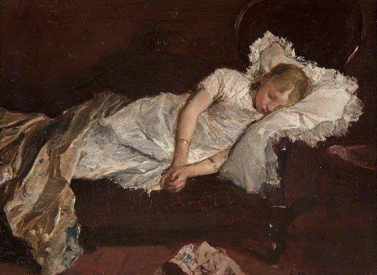 """""""Niña dormida en el sofá"""" (1880) óleo de Jacob Henricus Maris (1837-1899) #BuenasNochesMundo"""
