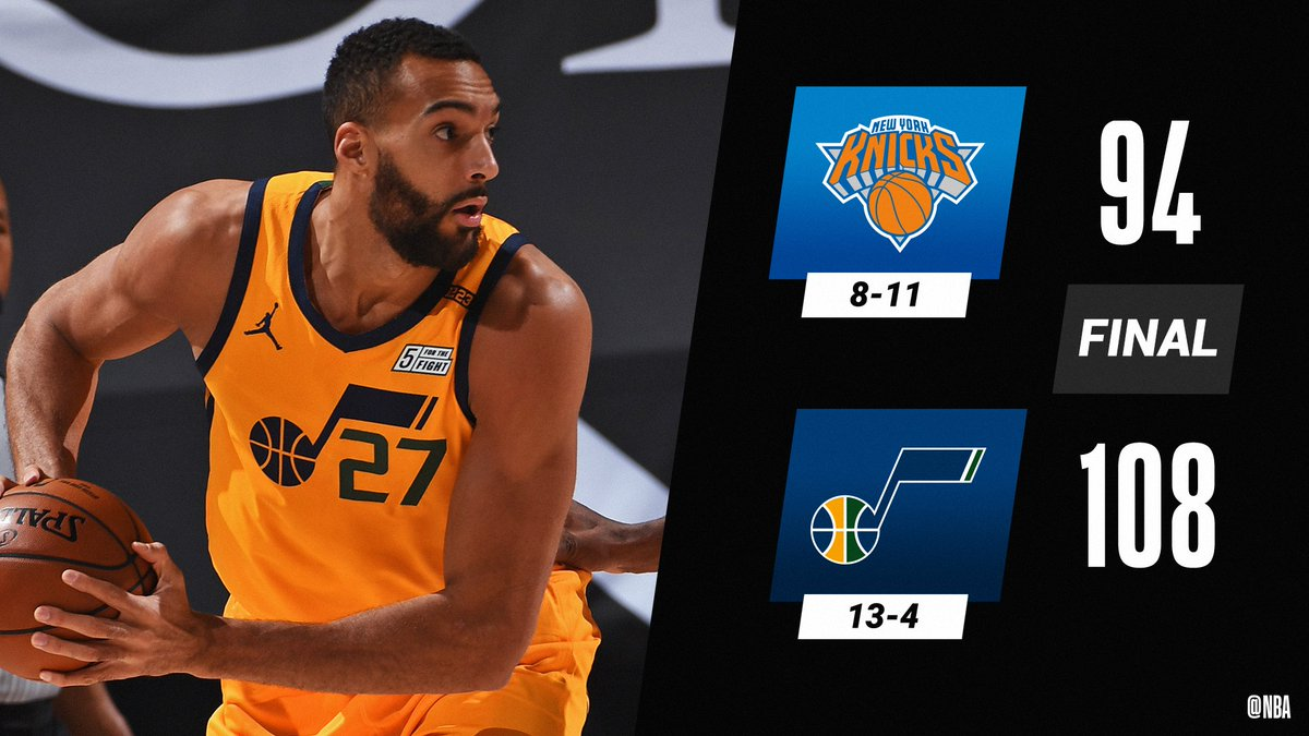 Rudy Gobert (18 PTS, 19 REB, 4 BLK) and the @utahjazz win their 9th in a row.  Royce O'Neale: 20 PTS (career high) Mike Conley: 19 PTS Austin Rivers: 25 PTS, 5 3PM