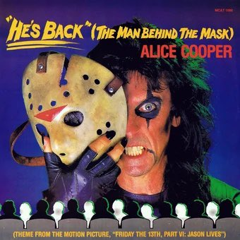 """We all know @AliceCooper's """"He's Back"""" (The Man Behind the Mask) from JASON LIVES: FRIDAY THE 13TH PART VI, but how many of you owned the single?!  Join us for more trivia about the intersection of rock and horror this Friday at an all-new Final Exam! 🎸⚡️"""