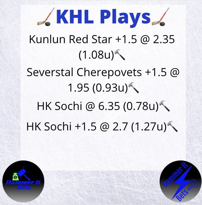 #KHL Plays for tomorrow 👀  #hammerit #gamblingtwitter #hockey #HockeyPicks #HockeyTwitter #bettingtips #bettingtwitter