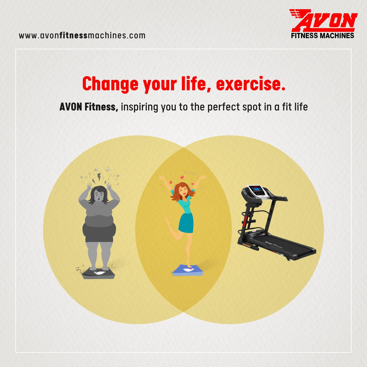 Avon Fitness Machines inspire you to do exercise and change your life. There are countless benefits of exercising regularly. Get fit in your perfect spot with your fitness partner AVON.  #AVON #Fitness #Gym #Workout #FitnessMachines #Treadmill #Cardio #GymEquipment #Health #Diet