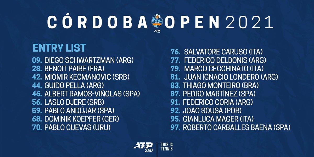 Cinco integrantes del Top-50 liderados por 🇦🇷@dieschwartzman participarán en el @CordobaOpen   Detalles del torneo ➡️