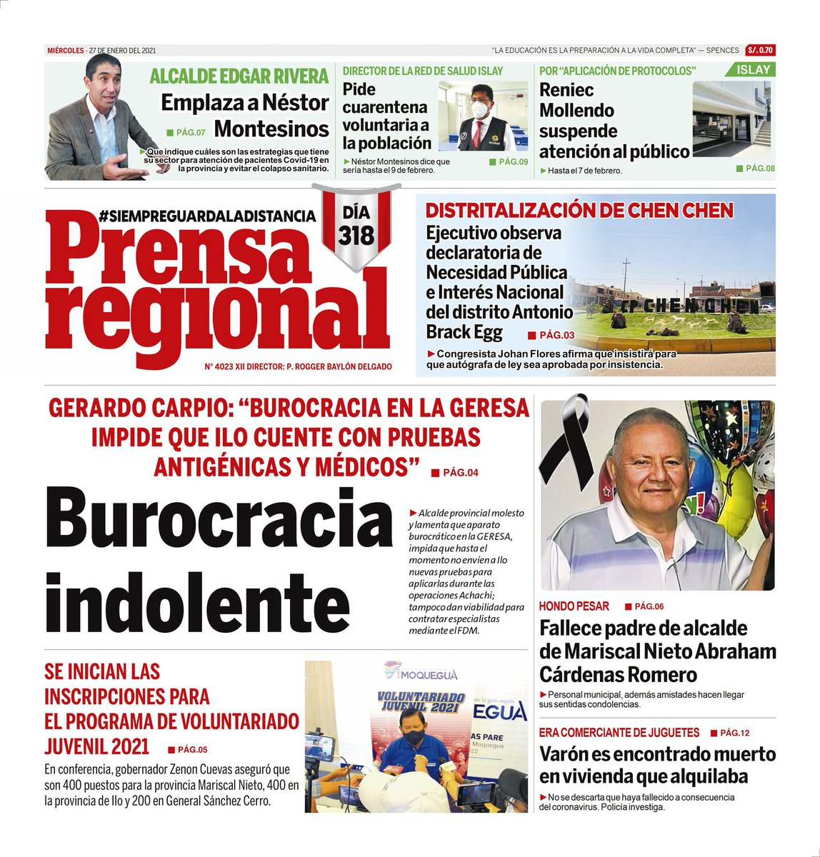 Diario Prensa Regional #Moquegua #Ilo #Mollendo #Islay #Arequipa #LoUltimo  #coronavirus Más información en:  https://t.co/kV0ONv36YM https://t.co/yiPl6HeLqu
