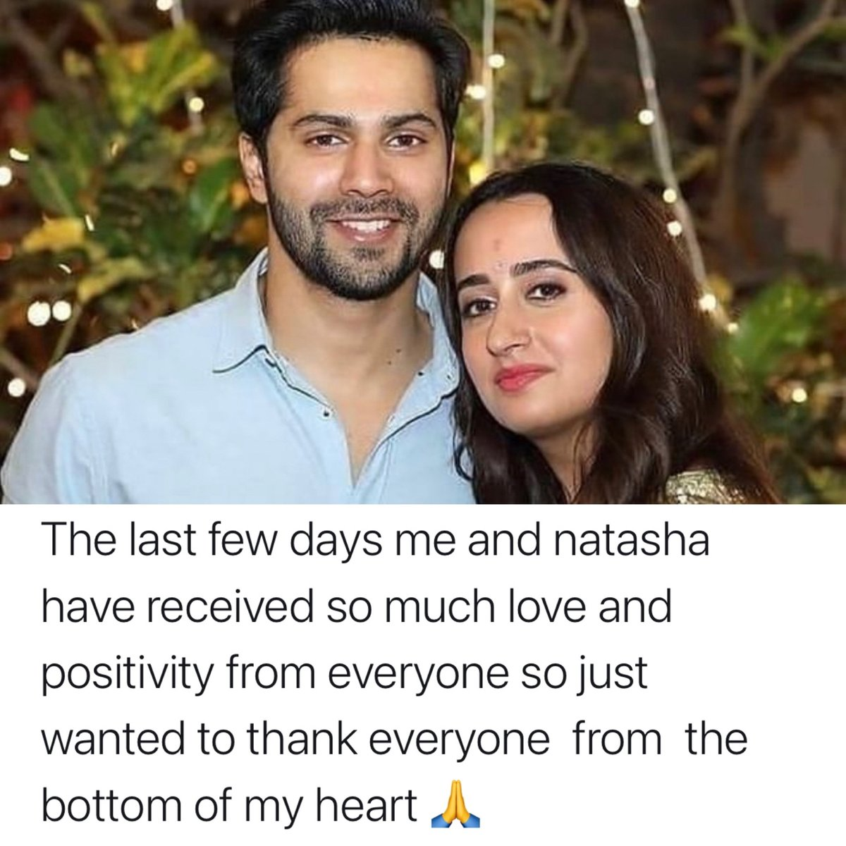 #VarunDhawan sends out a message to all his well-wishers after his marriage with #NatashaDalal.