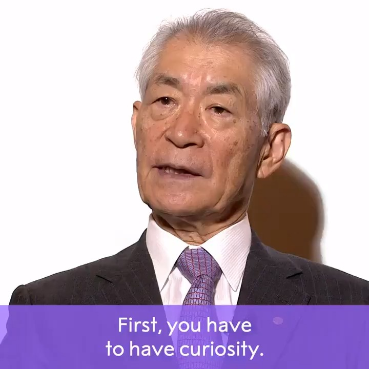 """What qualities do you need to be a successful scientist?   2018 Medicine Laureate Tasuku Honjo shares what he believes are the """"three c's"""": curiosity, courage and challenge.  Wishing him a happy birthday today.   #NobelPrize"""