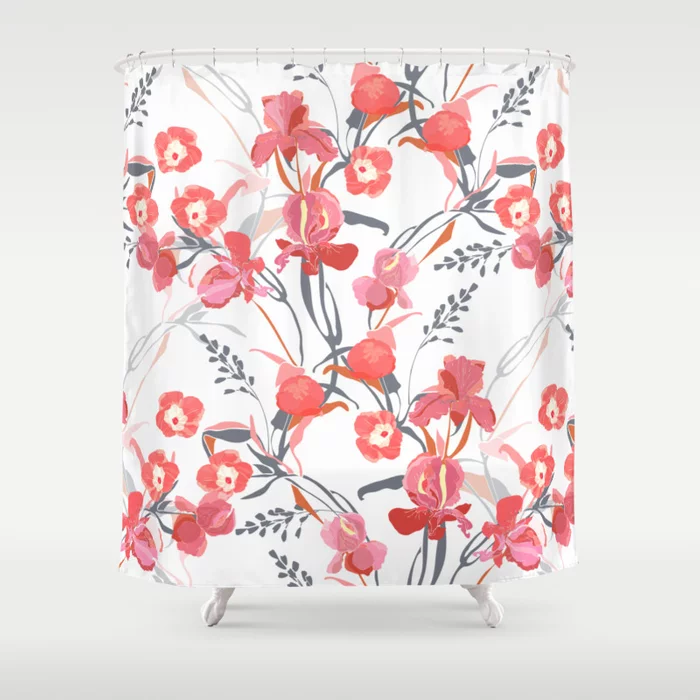 Enjoy 25% Off Everything!  #floral #red #showercurtain #bathroom #bathtime #dormdecor #flowers #spring #curtain #nature #floralart #pink #peony #ipomoea #blossom #bathroomaccessories #garden #interiordecor #bathdecor #gray #society6 #interiordesign #sale