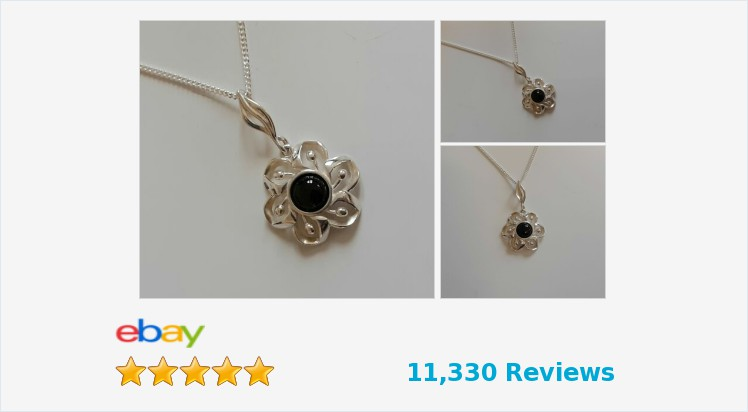 Brand New 925 Sterling Silver Flower and Black Onyx Pendant Necklace-gift boxed | eBay #sterlingsilver #black #onyx #flower #pendant #necklace #handmade #jewellery #gifts #giftshop #jwelry #giftsforher #giftideas #pretty #accessories #fashion