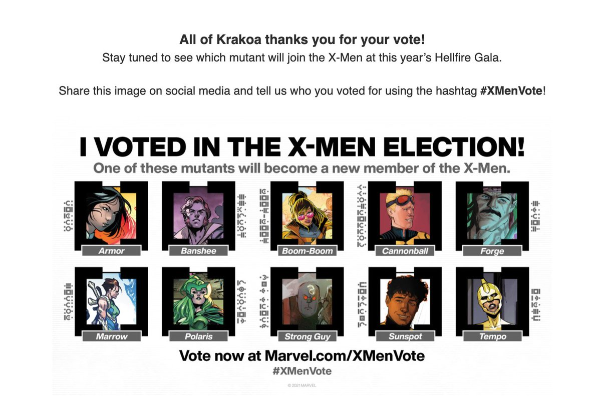The polls are open, #XTwitter. I voted for #BoomBoom in the big #XMenVote.  Get out there and vote! Do it for Krakoa!