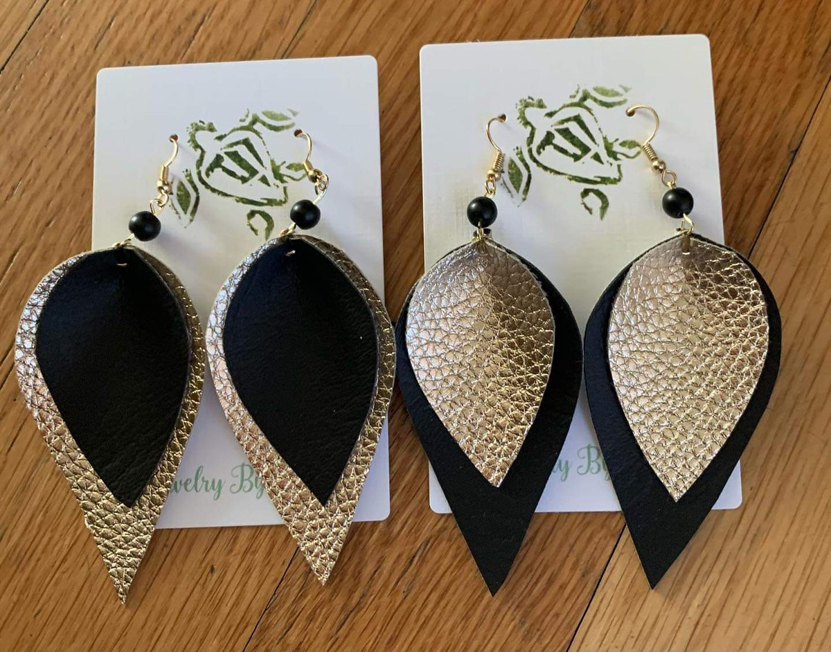Fraternal Twins! Black and gold faux leather earrings! #blackandgold #jewelrybyturtle #fauxleather #gold #handmade
