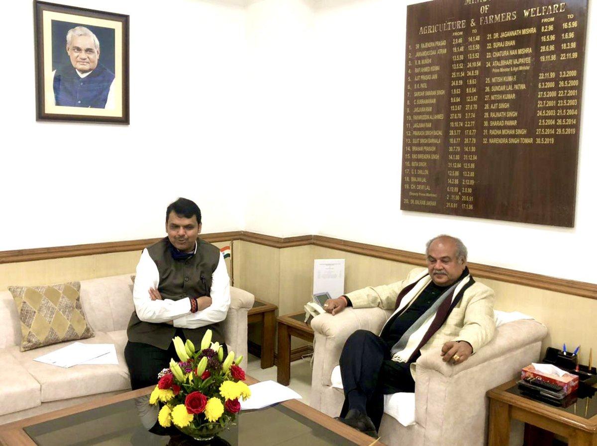 📍New Delhi. Met Union Agriculture Minister Hon Narendra Singh Tomar ji @nstomar in New Delhi, this afternoon.  नवी दिल्ली येथे आज केंद्रीय कृषिमंत्री मा. नरेंद्रसिंग तोमर जी यांची सदिच्छा भेट घेतली.