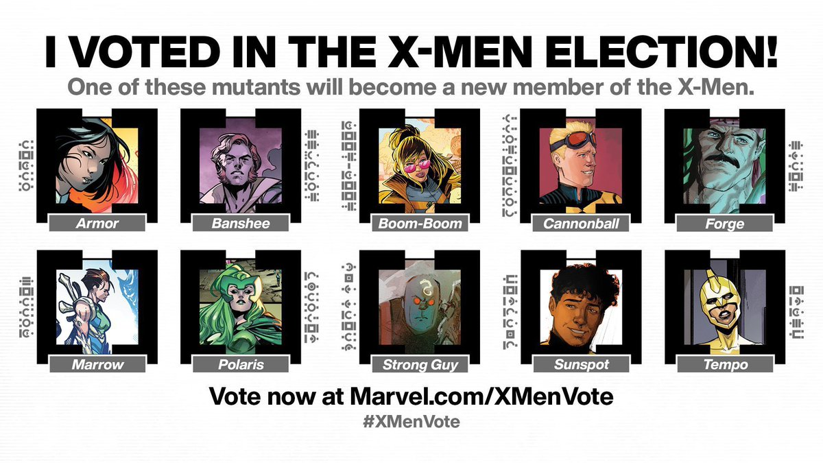 My vote has been cast! Can't wait to see the newly elected X-Men 🖤💛🖤 Wish 'Dust' had made the list though! #XMenVote #xmen #marvel #VoteMarrow