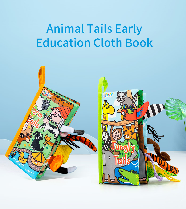 Animal Tails Cloth book-Jungle Deep in woods there is a jungle paradise *Parrot *Elephant *Raccoon * Tiger *Monkey *Girraffe *Zebra *Crocodile #jollybaby #clothbook  #educationaltoys #interactivebook #homeschooling #babybook #babygift  #parenthood #parentlife #handmade #magicbook