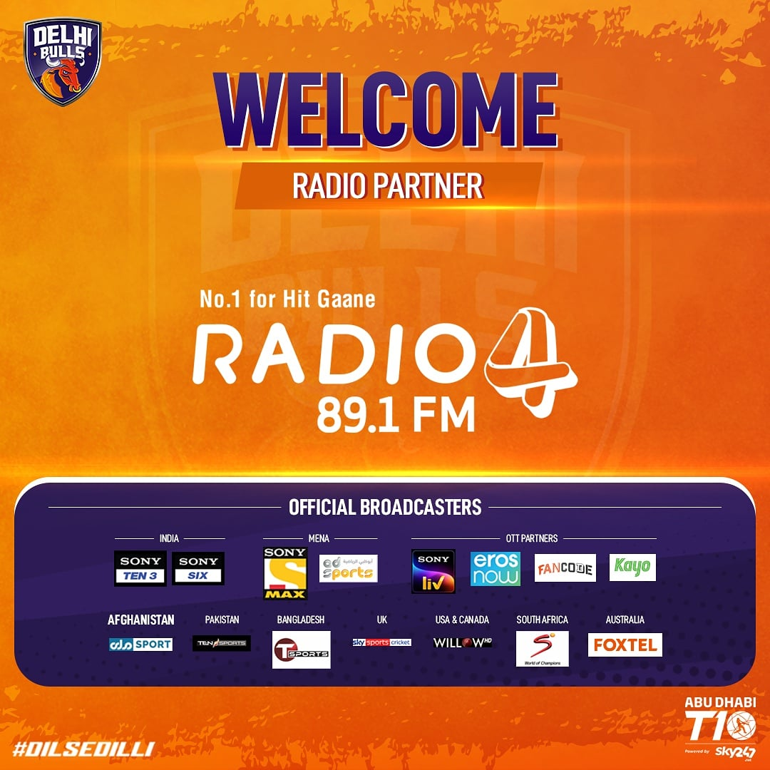 It gives us immense joy to announce @891Radio4 as our official Radio Partner for Season 4️⃣ of #AbuDhabiT10! 🙏☺️  #Radio4 #DilSeDilli #DelhiBulls #DelhiBullsT10 #InAbuDhabi #T10Cricket @T10League https://t.co/fwbzJtfqDi