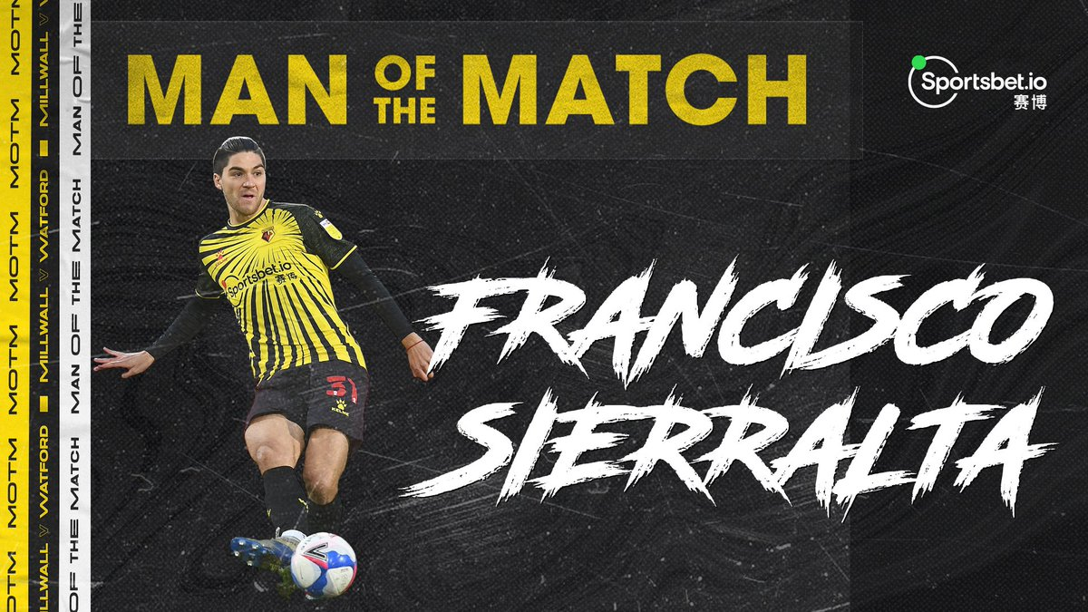 """Watford Football Club 💙 on Twitter: """"𝙊𝙪𝙧 𝙧𝙤𝙘𝙠 𝙖𝙩 𝙩𝙝𝙚 𝙗𝙖𝙘𝙠!  🥇 You voted Francisco Sierralta as your @Sportsbetio Man of the Match last  night!… """""""