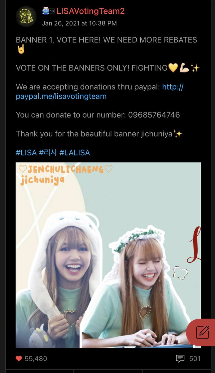 [CHOEAEDOL]  Lilies, continue collecting hearts for Lisa. We need rebates, so drop it on our banner. We need to work harder so pls stay tune for our instructions!💫  🔊 VOTE ON THE BANNERS ONLY  P1. LISAVotingTeam2 P2. sszlove P3. L⁵  블랙핑크 리사 #LISA #리사 @BLACKPINK