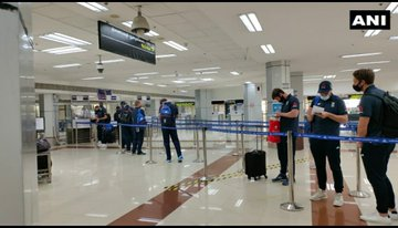 Tamil Nadu: England Cricket team and staff arrive at Chennai Airport. The first Test of the four-match series between India and England will begin on 5th February at MA Chidambaram Stadium in Chennai.   #INDvENG #INDvsAUSTest