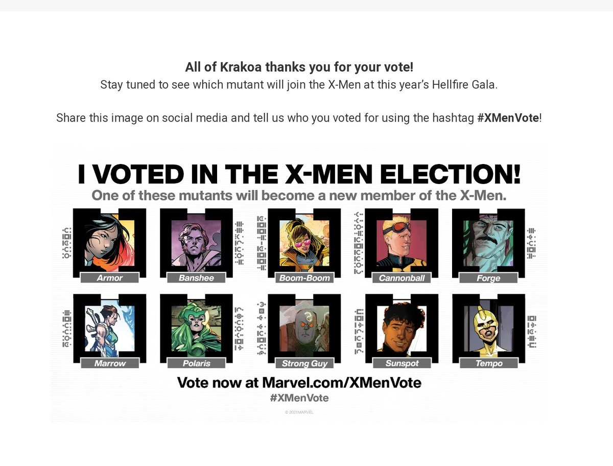 Love love love this and the continued support Marvel keeps giving the X-Men since House of M! This choice was not easy as I grew up with so many of them and a few have always been stuck in the B-List but I ended up choosing Armor for her unique power and back story! #XMenVote