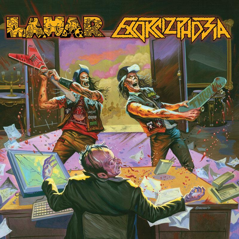 LAHAR | EXORCIZPHOBIA [split CD, 2013] 💿  Dvě přední české thrashmetalové brigády spojily síly v jeden detonační kompaktní disk. Zapečetěno.  🛒 →   #Lahar #Exorcizphobia #thrashers #thrash #thrashmetal #AndreiBouzikov #Bouzikov #splitCD #notrends