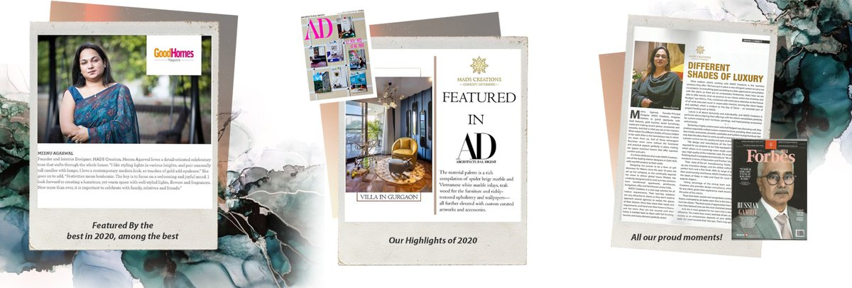 Best moments of 2020: It's always very gratifying when our hard work is recognized and appreciated by the media, and we are placed on par with other industry greats.These will remain the highlights of the year gone by for us. #ADIndia #forbesindia #bestmomentsof2020 #Goodhomes