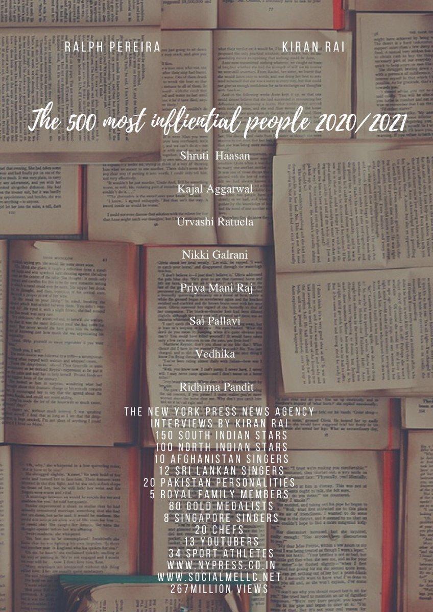 Congratulations to @shrutihaasan @MsKajalAggarwal @UrvashiRautela @nikkigalrani @Sai_Pallavi92 @Vedhika4u #PriyaMani @PanditRidhima as Most influential people of 2020/2021 😍❤❤❤❤