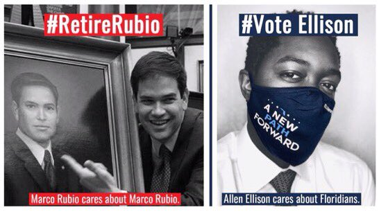 Vote for @AllenLEllison  📌 Protecting Social Security  📌 Medicare for all  📌 Increasing disability benefits   📌 Women's rights  📌 Ending Veteran suicides  📌 Making improvements to infrastructure & education  📌 Green solutions   📌 Gender equality  #DemVoice1 #RetireRubio