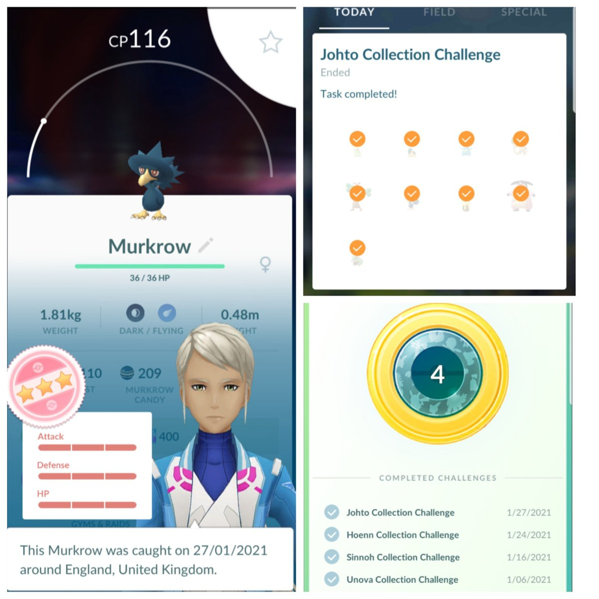 Johto collection task done,that makes 4 collection tasks complete😁👍,next stop Kanto celebration event,#teammystic #wednesdaymorning #murkrow #pokemongo #pokemon #hundo #incense #pokemonlife #game #fun  #communityday #pokestops #niantic #pokeball #pokedex #niantic