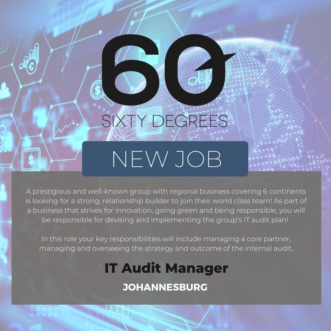 test Twitter Media - New #JobAlert - IT Audit Manager in Sandton, Johannesburg  For more information & to apply, please click on the link below;  https://t.co/BhLbRWlc2i  #IT #nowhiring #60degrees https://t.co/VBl7zQB3r6
