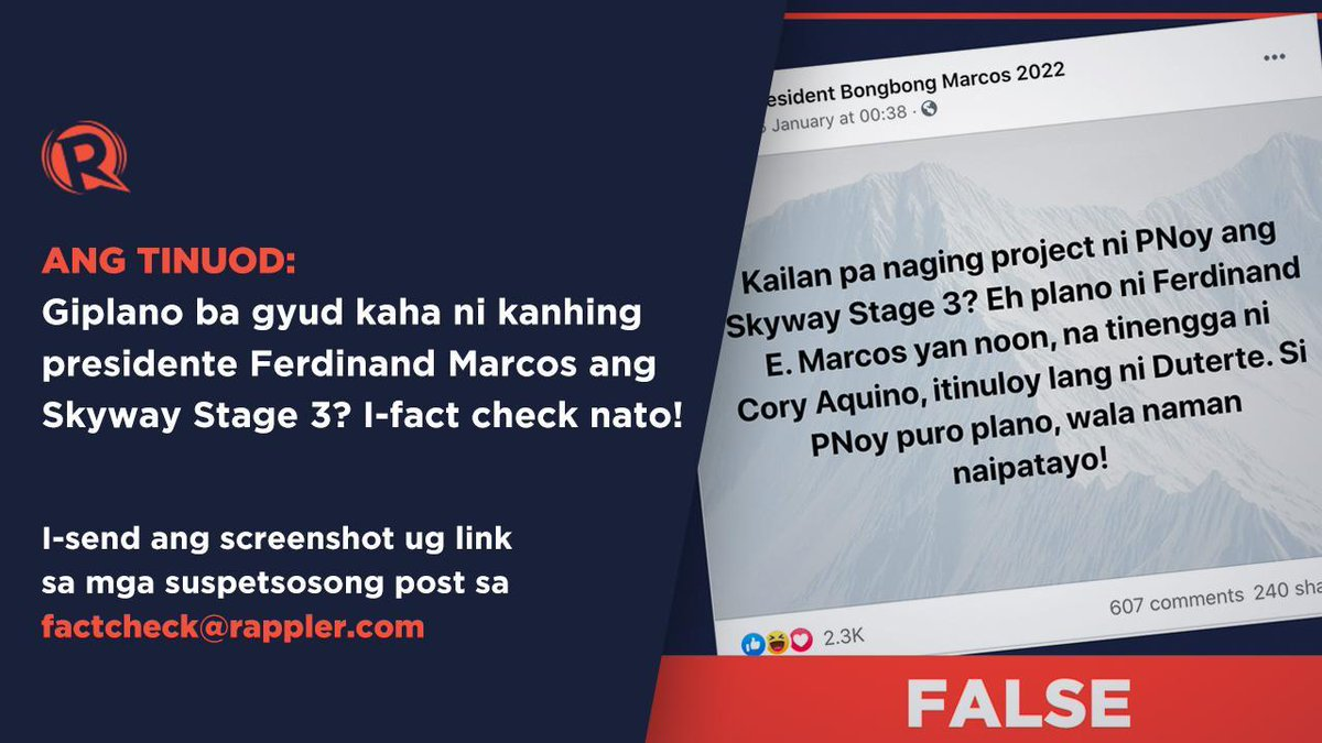 #FactCheck: Skyway Stage 3 was a part of the Metro Manila Skyway System project that began during the Fidel V Ramos administration. READ: rappler.com/newsbreak/fact…