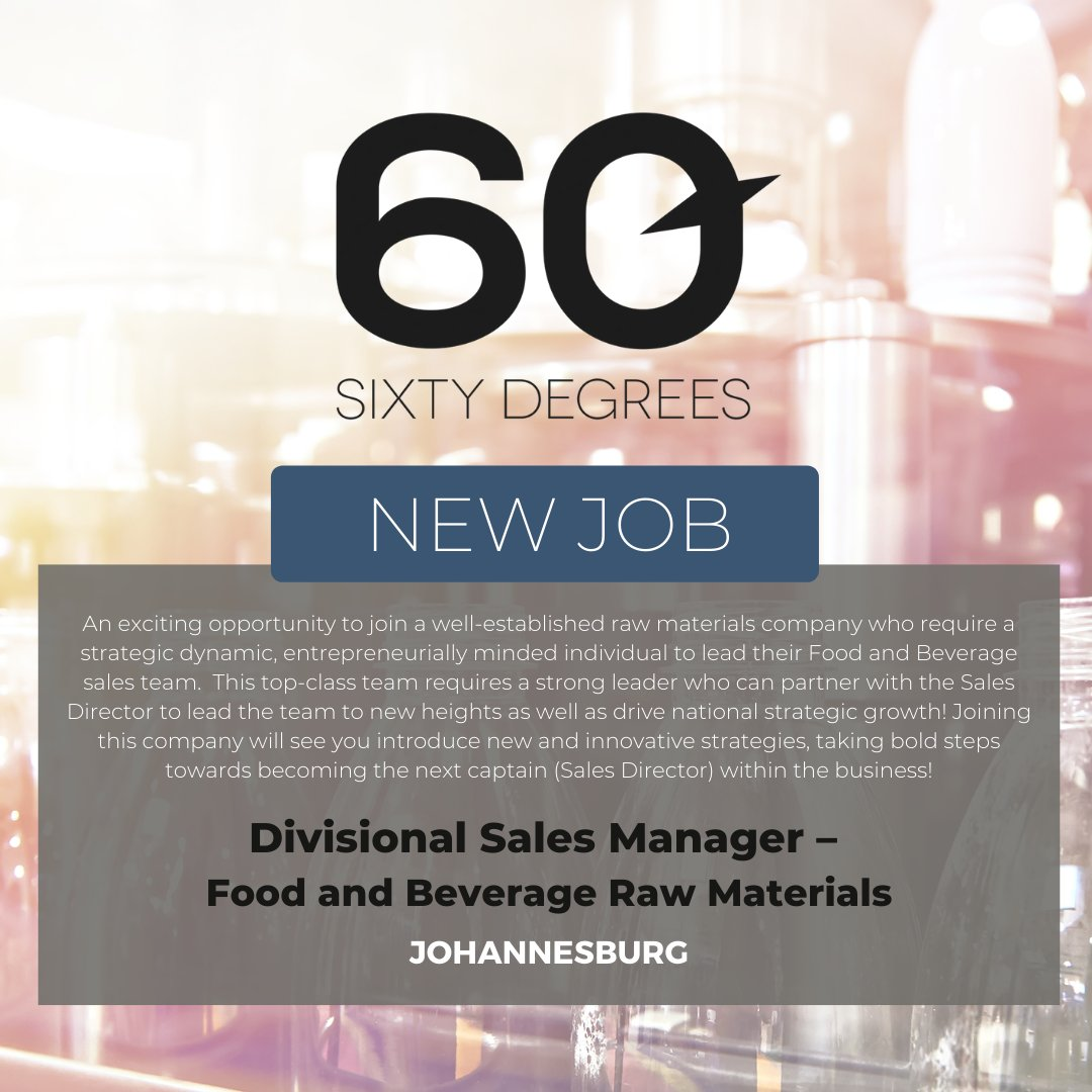 test Twitter Media - New #JobAlert - Divisional Sales Manager – Food and Beverage Raw Materials in East Rand  For more information & to apply, please click on the link below;  https://t.co/qXqXdWGsTn  #foodandbeverage #nowhiring #60degrees #sales https://t.co/12bjHaxgir