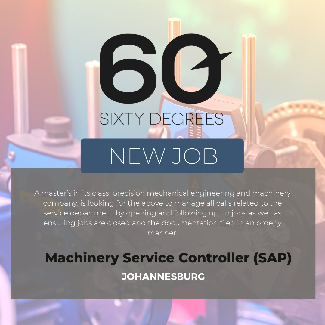 test Twitter Media - New #JobAlert - Machinery Service Controller (SAP) in Johannesburg  For more information & to apply, please click on the link below;  https://t.co/HSS3yBvFRC  #nowhiring #60degrees #SAP https://t.co/KHqpRsPjLZ