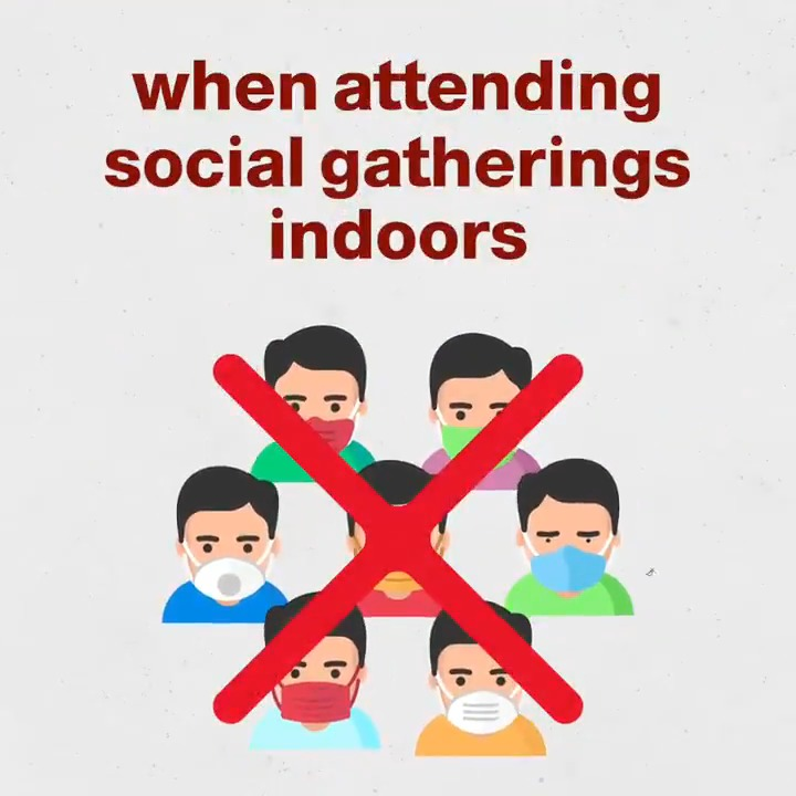 A high percentage of #COVID19 infections are due to indoor gatherings.  Gatherings, even in small numbers with people you trust, can put you and your loved ones at risk of contracting the virus.  It is #TimeToAbide by the preventive measures.