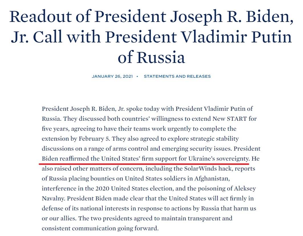 Regarding #Ukraine: US phone call readout verses the Kremlin's read out. Worlds apart.