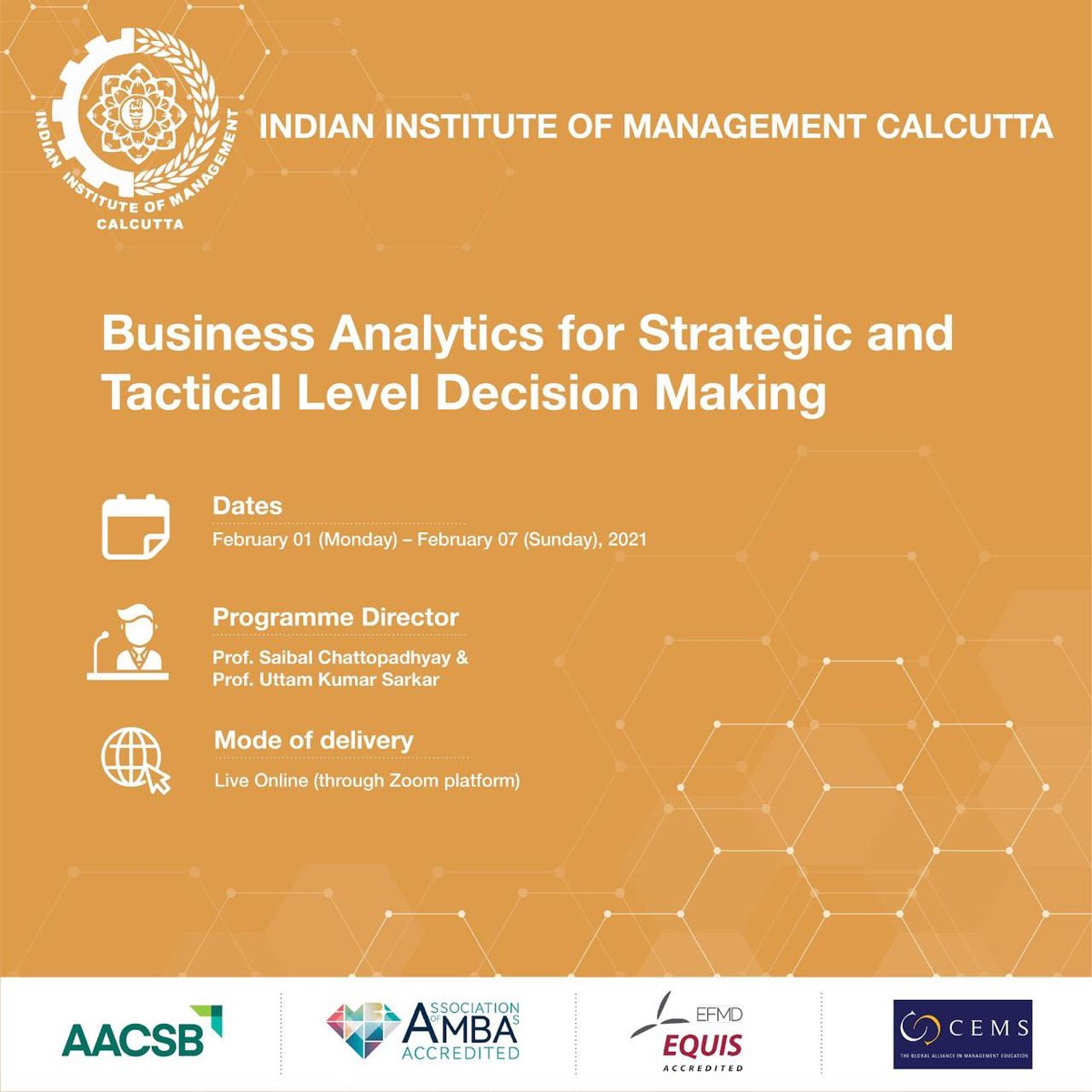 Join IIM Calcutta's Business Analytics for Strategic and Tactical Level Decision Making online programme which aims to sensitize the participants about the myths, promises & realities surrounding business analytics. Know more: https://t.co/2CRxA3dh2b https://t.co/iYMdDzcNzh