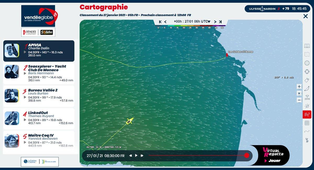 C'est maintenant !  Le premier concurrent @ApiviaVoile est à moins de 200 milles nautiques des Sables d'Olonne. Sa position est actualisée toutes les 30 minutes. Suivez l'évolution sur la cartographie ▶️