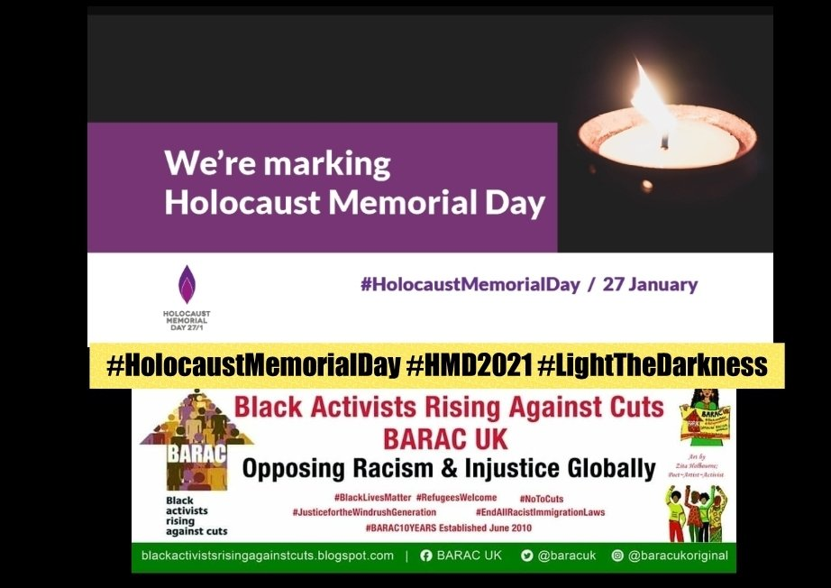 Today is Holocaust Memorial Day. We at BARAC UK remember all of those whose lives were taken and stand united against all forms of racism and xenophobia. 🕯#holocaustmemorialday #HMD21 #lightthedarkness