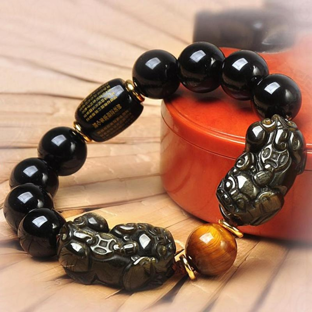 Like if you are Excited! Oh Yeah Double Pixiu Mantra Wealth bracelet   #Brown #White #Bodyjewelry #Amber #Black #Creativearts #Religiousitem #Red #Art #Font