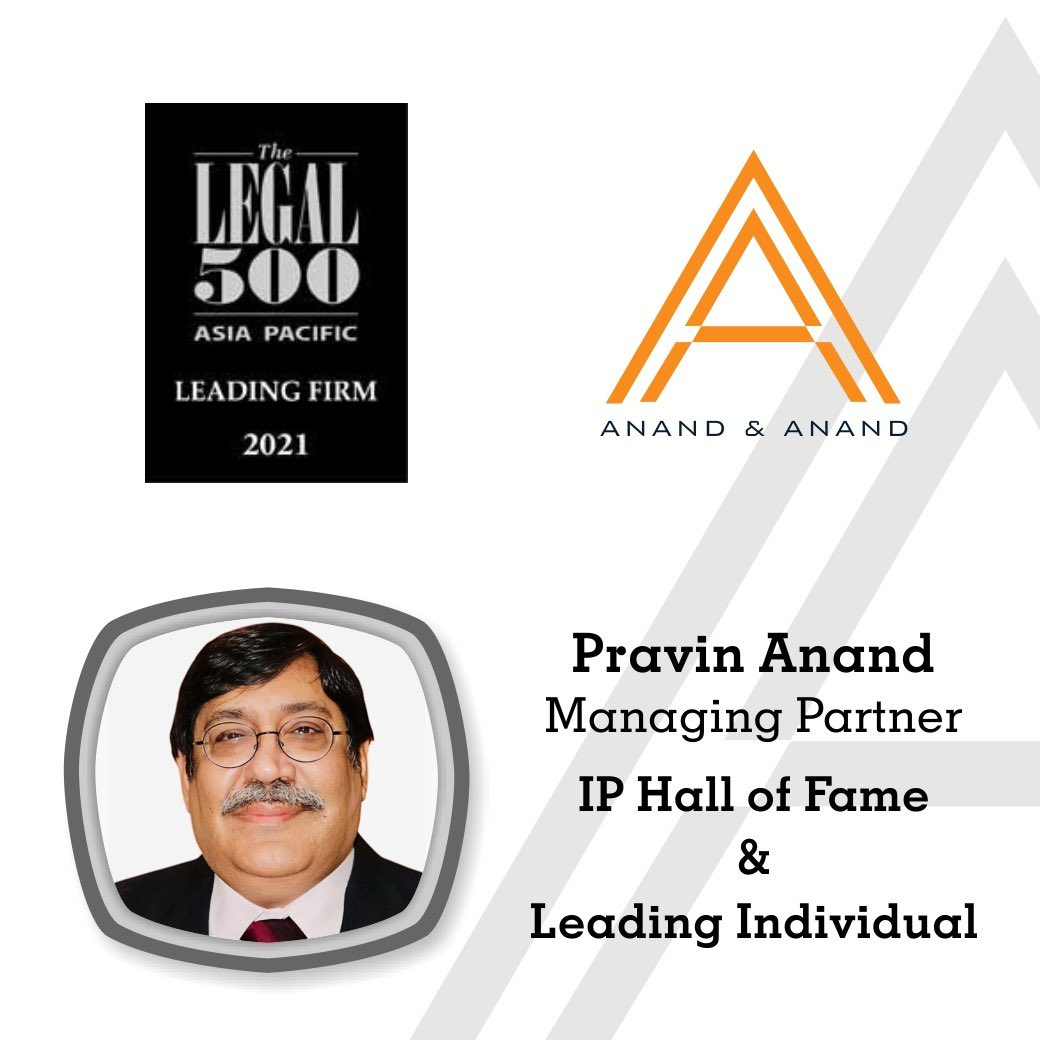 Legal 500( Legalease @thelegal500 ) Asia Pacific Rankings  - Managing Partner Pravin Anand continues to maintain his place in the IP 'Hall of Fame' and in the Leading Individual category.  #AnandandAnand #Legal500 #AsiaPacific #LeadingLawyer #IntellectualProperty