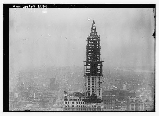 Construction of the Woolworth Building, in lower Manhattan, one of New York City's iconic early skyscrapers. #Architect Cass Gilbert's neo-Gothic skyscraper, at 60 stories and 792 feet, reigned as the world's tallest building upon its completion in 1913. #NYC