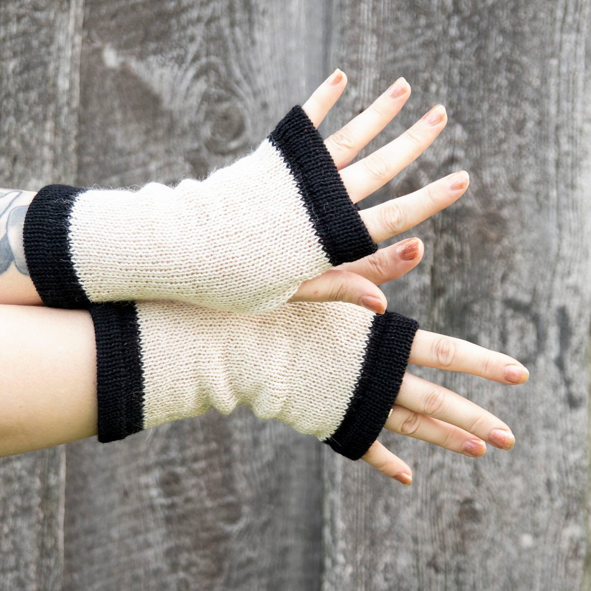 #Fingerless #knit #Gloves #soft #wool #mittens #merino #alpaca wool #beige #black #handmade #mitts #GiftforHer  @Etsy