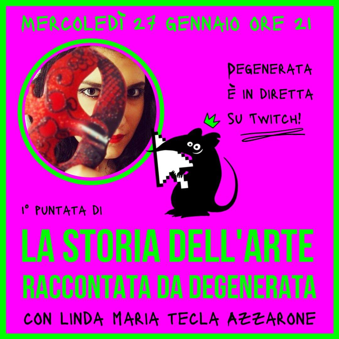"""Questa sera alle 21.00 sono #live su  con la 1° #puntata de LA STORIA DELL'ARTE RACCONTATA DA DEGENERATA. Si intitola """"Come #innamorarsi dell'#arte"""" 😁 • Vieni a trovarmi su #twitch e #chiacchiera insieme a me, ti va? 😘"""