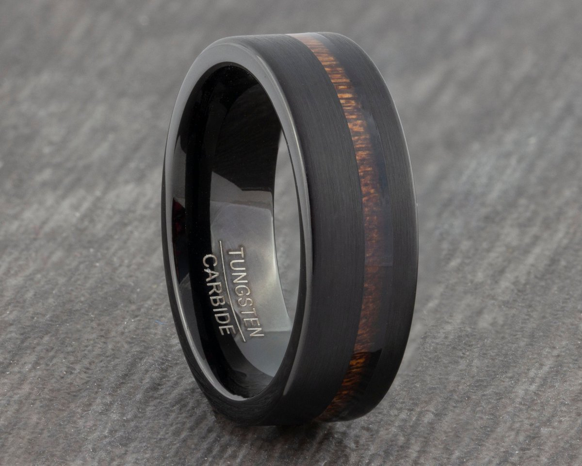 Excited to share the latest addition to my #etsy shop: Black 8mm Tungsten Carbide Ring with Hawaiian Koa Wood Inlay - Mens Wedding Ring - Womens Wedding Band - New Engagement Ring - Men's Ring  #black #wedding #no #women #tungsten #weddingring #