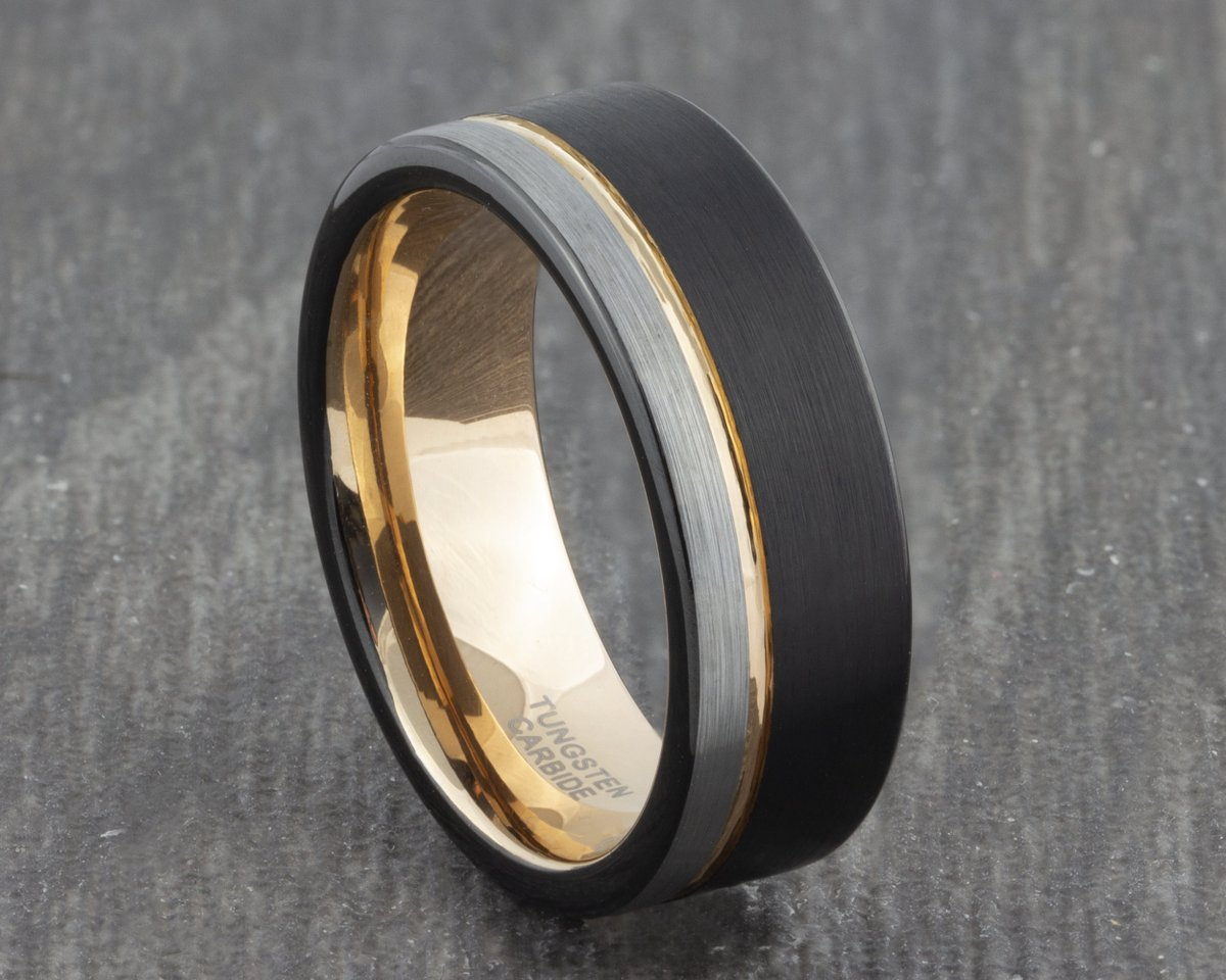Excited to share the latest addition to my #etsy shop: 8mm Black Silver Tungsten Ring with Rose Gold Groove - Mens Ring - Men's Wedding Ring - New Wedding Band - Womens Engagement Flat Court Ring  #black #wedding #no #silver #women #tungsten #