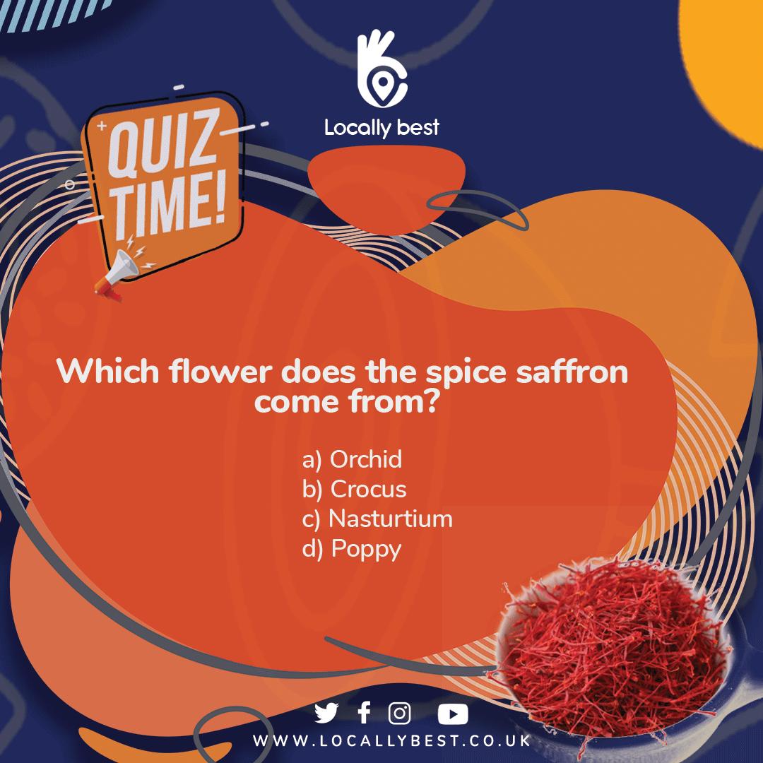 Quiz time 📕 : Which flower does the spice saffron come from?  a). Orchid b). Crocus c). Nasturtium d). Poppy . . . #flower #crocus #nasturtium #poppy #orchid #spice #saffron #flowers #crocus #flowerdelivery #orchidflowers #flowerinstagram #saffronwalden